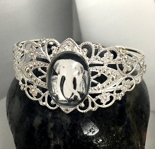 Handcrafted Wearable Art Cameo Cuff Bracelet - Elephants, Elephant Jewelry