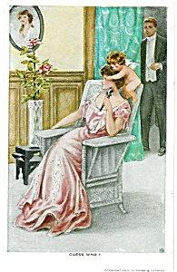 Antique Gutmann Postcard Guess Who Cupid Romance
