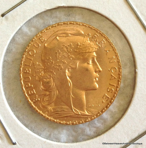 World Coins: 1907 Gold Coin French 20 Francs Rooster 6.45 Grams