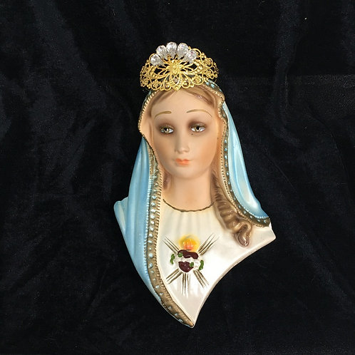 Upcycled Crowned Vintage Virgin Mary Queen of Heaven Chalkware Wall Statue