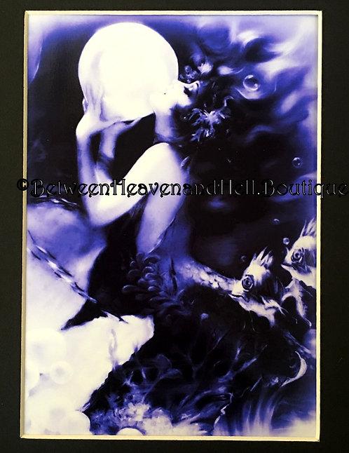 8x10 Sultry Mermaid w/ Crystal Ball Art Deco Giclee Print Between Heaven & Hell