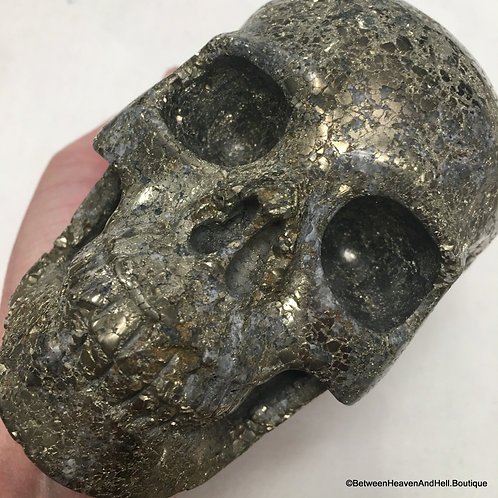 4.9Lb Large Golden Pyrite Skull ACTIVATED Personal Power Manifestation Good Luck