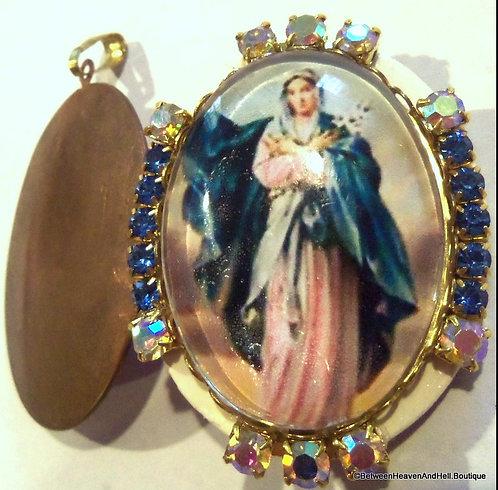 Vintage Virgin Mary Rhinestone Cameo Locket Pendant, Religious Jewelry