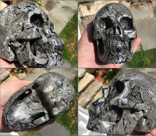 Large Picasso Jasper Crystal Skull Gray & Black - Karma Clearing, protection
