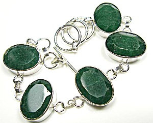 Natural Faceted Green Emerald Bracelet: Sterling Silver Jewelry