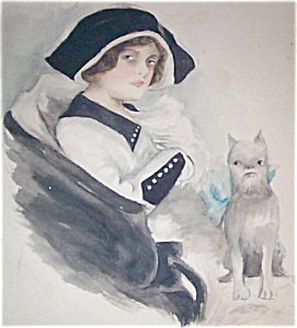 Watercolor Painting Harrison Fisher Lady And Dog