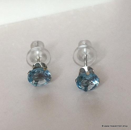 10k Gold Swiss Blue Topaz Earrings 10k White Gold Stud Earrings 10k gold jewelry