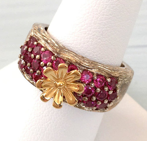 Vintage Signed Gemstone Ring 925 Sterling Silver Garnet 14k Gold daisy Size 9