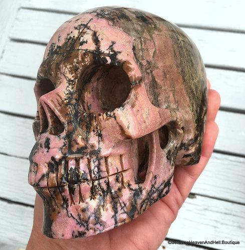 """5"""" Activated Allura Master Skull Rhodonite Large Sculpture NEW BEGINNINGS"""
