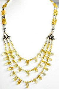 Natural Citrine Silver Multi Strand Drop Bead Necklace