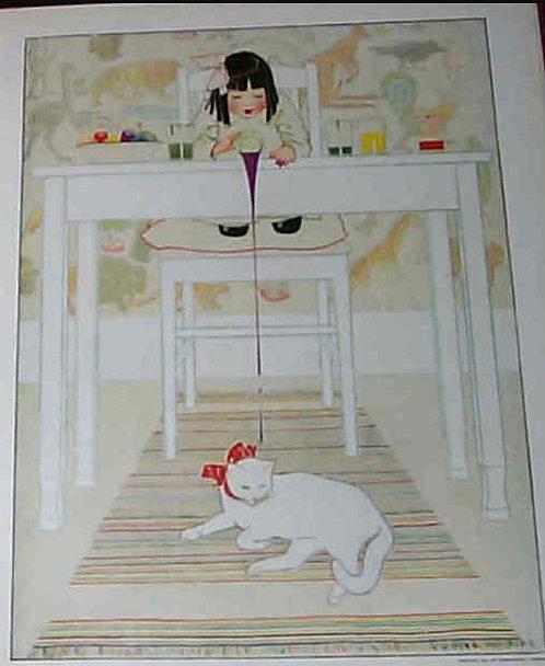 Coles Phillips Vintage Art Deco Children Print Little Girl Cat Easter Eggs
