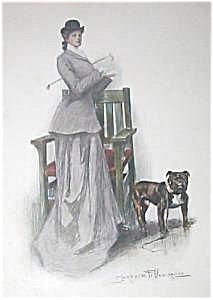 Antique Dog Art Prints Victorian Riding Lady Bulldog C. Underwood