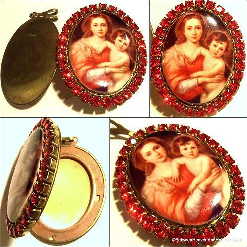 Large Madonna and Child Locket Red Rhinestone Porcelain Cameo Pendant