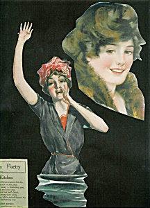 Art Nouveau Victorian Lady Swimmer Print Illustration