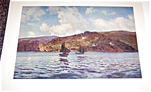 Vintage Print Seascapes Ships Captaws Off The Land Nautical