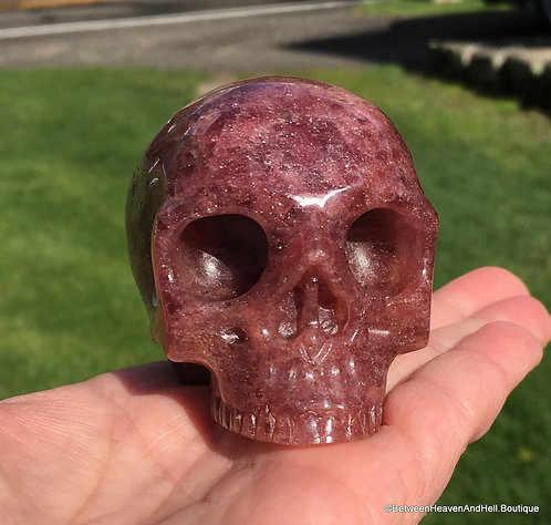 """3"""" Half Skull Activated Red Muscovite Crystal Love From Heaven Angel Healing"""