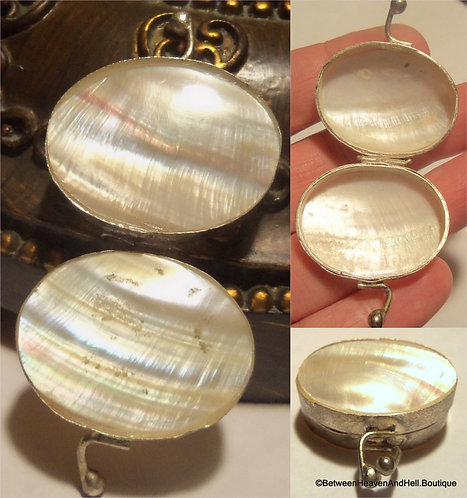 Antique Silver Mother Of Pearl Pill Box, Small Rosary Case, Locket