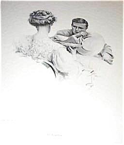 Harrison Fisher Print In Suspense Afternoon Tea Romance