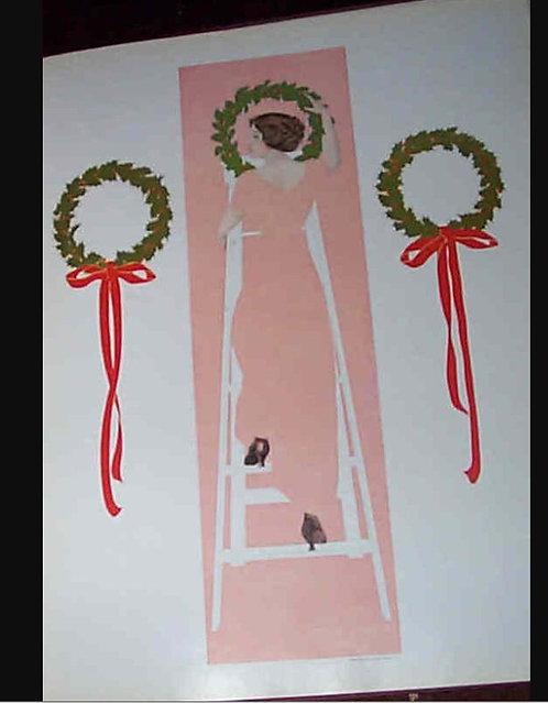 Vintage Coles Phillips Print Pink Fade Away Girl Hanging Christmas Wreaths