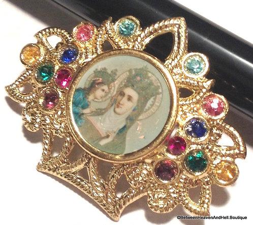 Vintage Rhinestone Saint Anne Virgin Mary Pin Religious Brooch Religious Jewelry