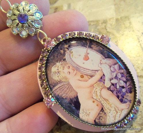 Vintage Shabby Pink Victorian Cupid Jewelry Cherub Locket Rhinestone Pendant