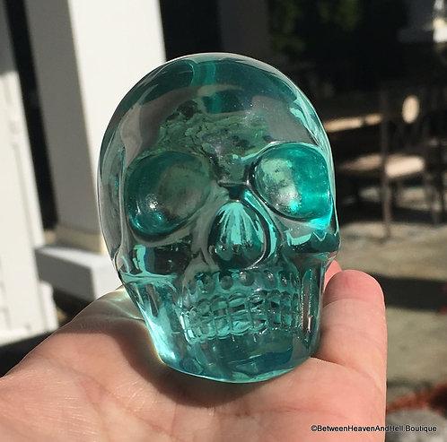 """3"""" Aqua Blue Crystal Skull Self Induced Hypnosis Meditation Scrying"""