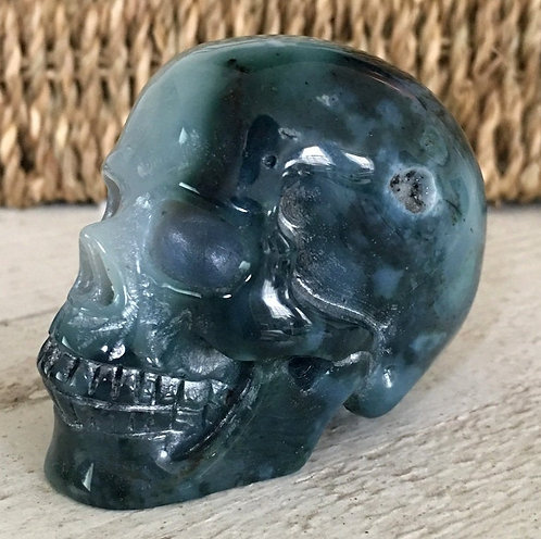 "2.6"" Activated Translucent Druzy Moss Agate Crystal Skull - Manifest Abundance"