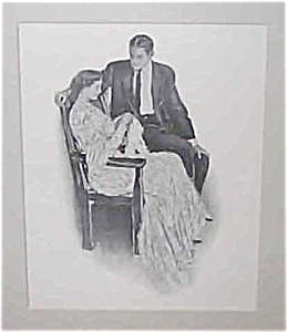 Antique Vintage Prints: Cf Underwood Romance Knitting Scene