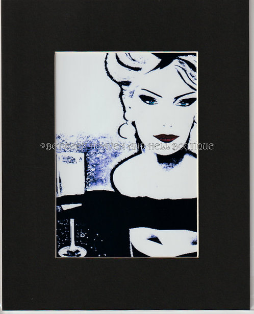 8x10 Altered Art Print Closing Time Wine Art Bar Art Sexy Woman Champagne