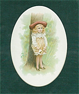 Vintage Print: Victorian Children Babies: Little Girl In Hat