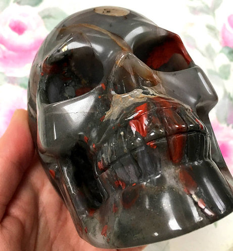 Large Activated Bloodstone crystal Skull Master Zachariah - Prosperity, Magick