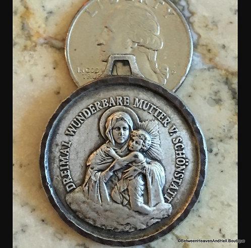 Vintage German Holy Medal, Rare Medal Virgin Mary Child Baby Jesus