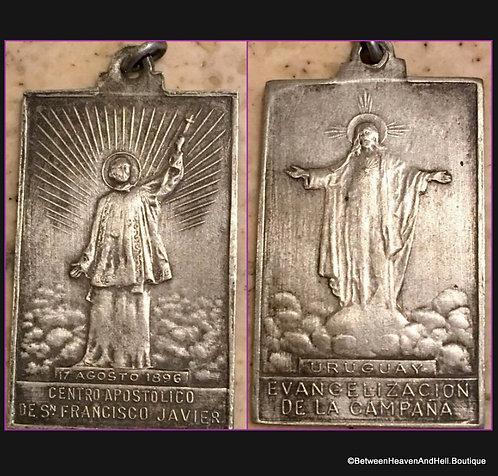 Rare Large 1896 Medal Saint Francis Xavier Sacred Heart, Vintage Religious Medal