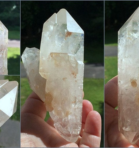 """5"""" Raw Double Terminated cathedral Quartz w/ 3 Goddess Isis faces"""