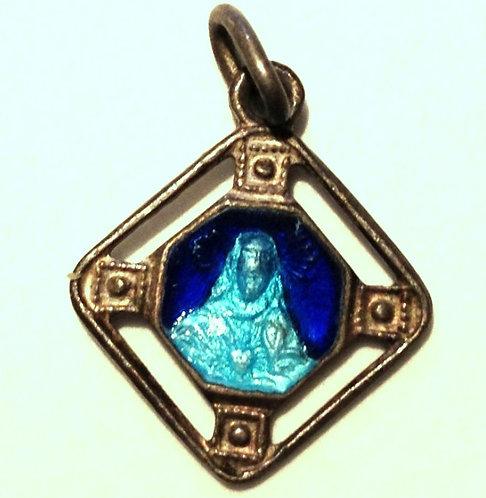 Vintage holy Medal Cobalt & Aqua Blue Enamel Sacred Heart Jesus Scapular Charm