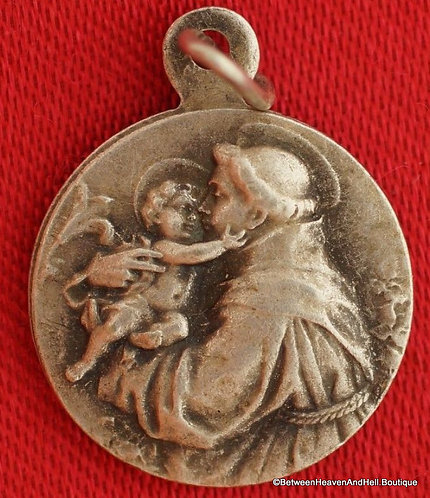Small Religious Jewelry Vintage Signed Holy Medal Saint Anthony Baby Jesus