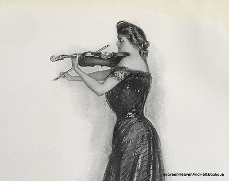 Early 1900's Vintage Music Art Edwardian Woman Violin Print