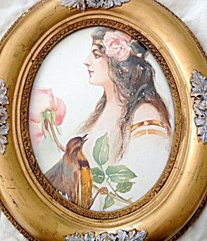 Antique Ornate Oval Wood Framed Print Edwardian Lady And Bird