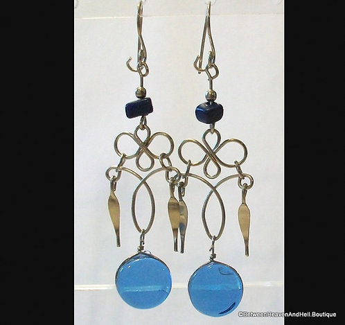 Long Dangle Earrings: Medium Dark Blue Murano Glass, Agate Gemstone Accents
