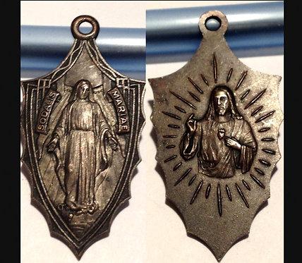 1930's Large Catholic Holy Medal Sodalis Mariae Virgin Mary Sacred Heart Jesus