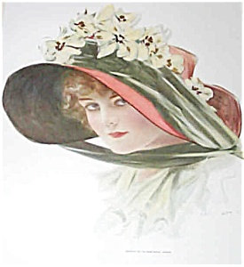 Vintage Print Victorian Lady Big Flower Hat Print Henry Hutt