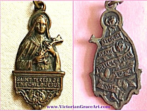 Antique Religious Medal St. Theresa Of The Child Jesus