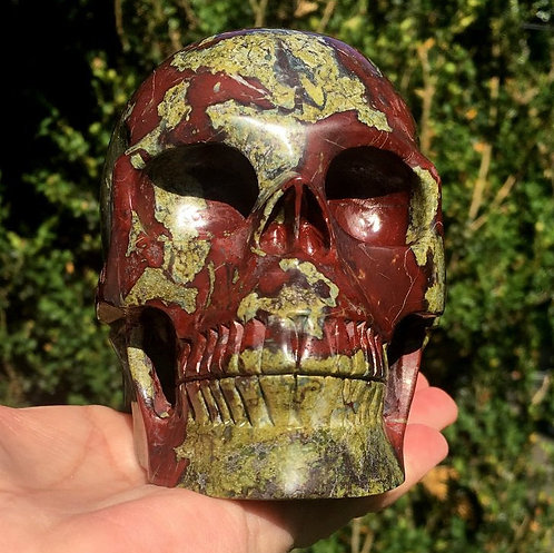 3.3Lb Large Dragon Blood Jasper Crystal Skull Align Meridians Raise Kundalini