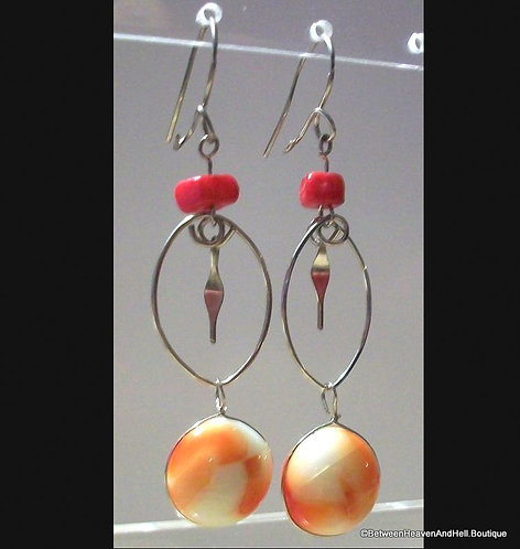 Orange & Red Murano Glass Drop Agate Long Dangle Silver Earrings