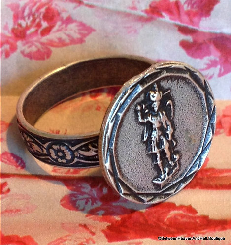 Vintage Up-cycled Silver Saint Michael Archangel Ring, Spiritual Angel Jewelry