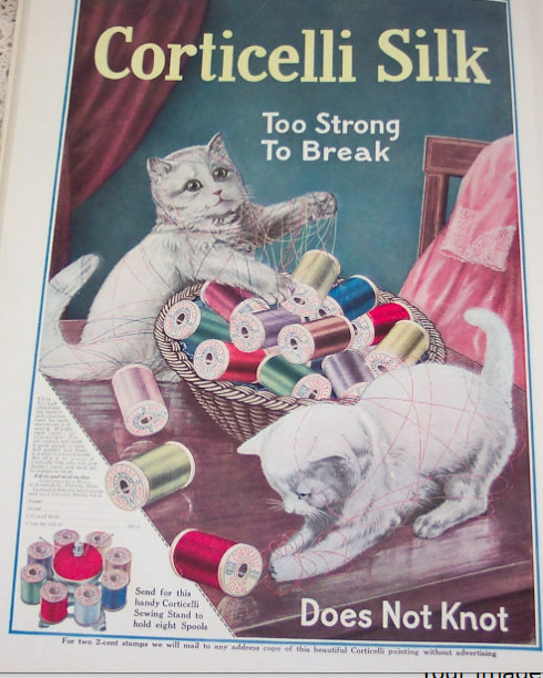 Large Vintage Sewing Ad Corticelli Silk Thread Kittens Cats Decor