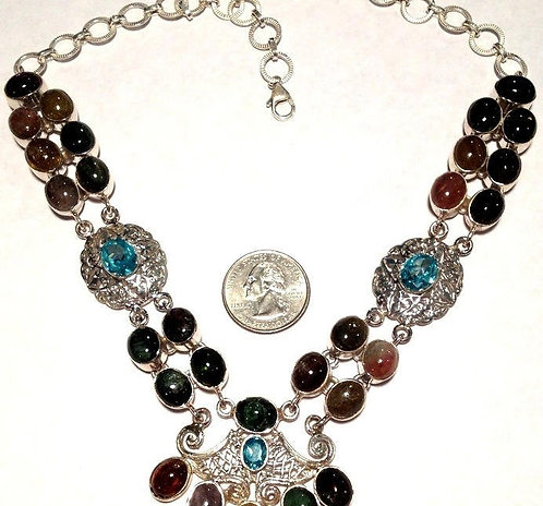 Large Sterling Silver Pink, Green, Red Tourmaline & Blue Topaz Necklace