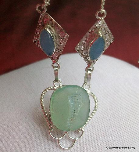 Druzy Agate Opalite Necklace Sterling Silver Multi-GemStone Silver Jewelry