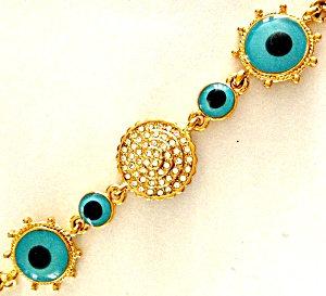 Gold And Rhinestone Blue Evil Eye Bracelet