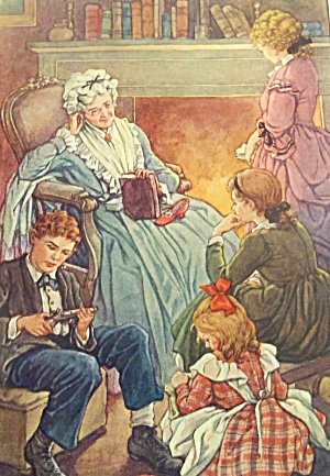 Vintage Clara C M Burd Print Victorian Grandmother Children